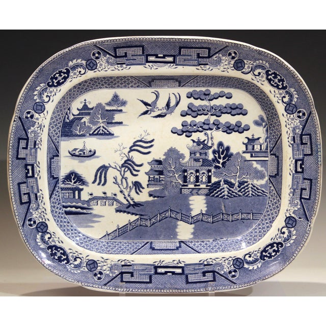 Antique Staffordshire Blue Willow platter. Great oblong form with crisp design and great color. Terrific for a console...