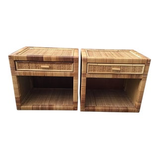 Bielecky Brothers Rattan Side Table With Drawer - a Pair For Sale
