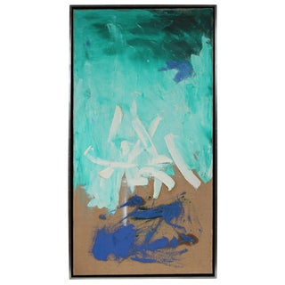 Modernist Abstract in Blue, Oil Painting, Circa 1950s For Sale
