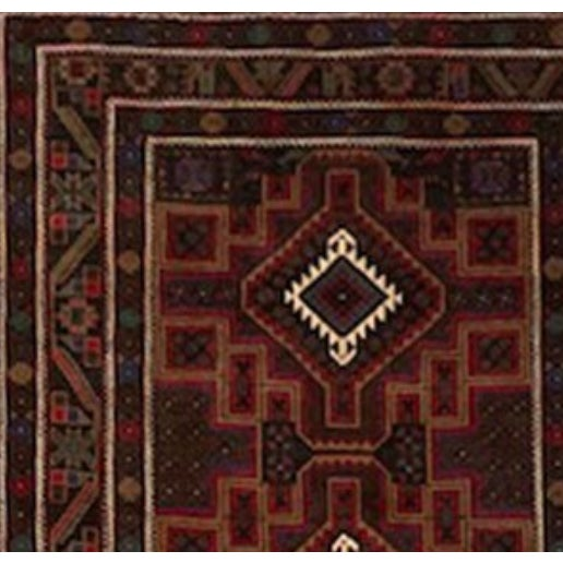 3' 9 X 6' 5. Purple, Fuchsia, Brown, White And Green Traditional Hand-knotted Baluchi Rug.