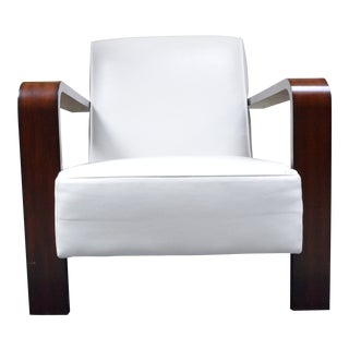Modern Ralph Lauren White Leather Lounge Chair For Sale