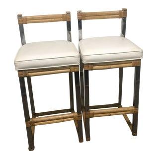 Four Season Rattan Furniture Inc. Metal Rattan Bar Stools - a Pair For Sale