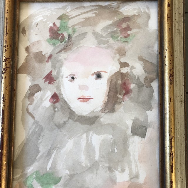 Original painting on paper Unsigned 5 x 7 Overall size with vintage frame is 6.5 x 8.5
