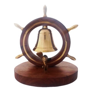 Nautical Ship Wheel Tabletop Brass Bell on Wooden Base For Sale