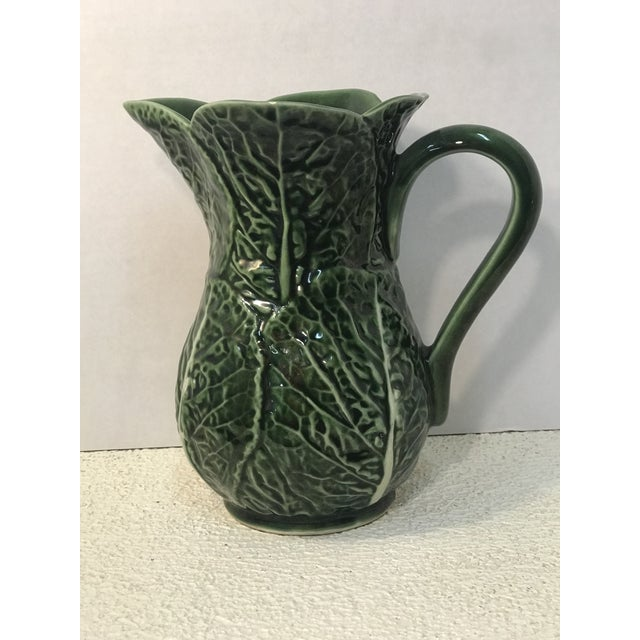 Vintage Green Cabbage Majolica Pitcher For Sale - Image 4 of 7