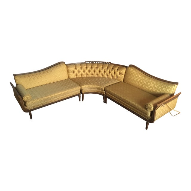French Provincial Brocade Sectional Sofa - Image 1 of 4