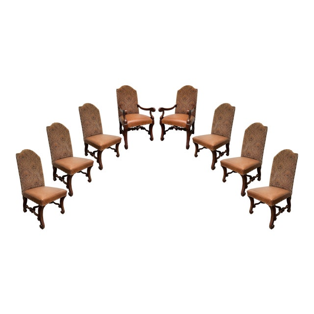 Vintage French Louis XV Style Dining Chairs - Set of 8 For Sale