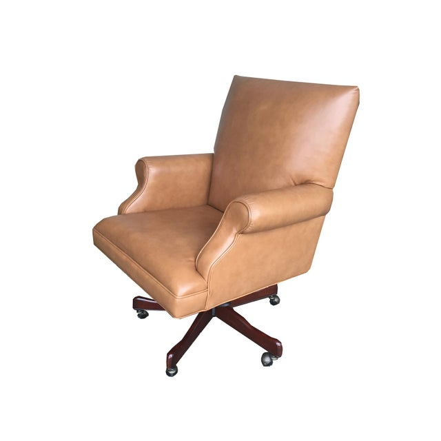 Vintage Mid Century Modern Tan Leather Chesterfield Style Executive Office Chair - Image 2 of 4