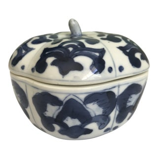 Chinoiserie Blue and White Pumpkin Gourd Lidded Box For Sale