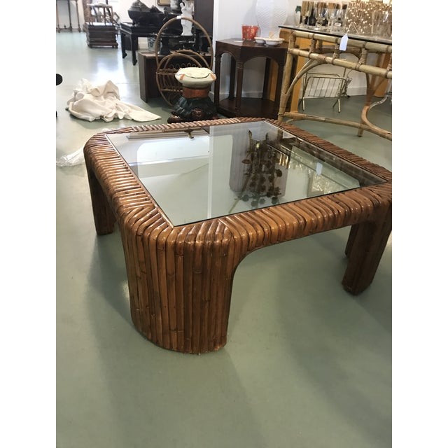 Bamboo Split Reed Rattan Waterfall Coffee Table For Sale - Image 7 of 8