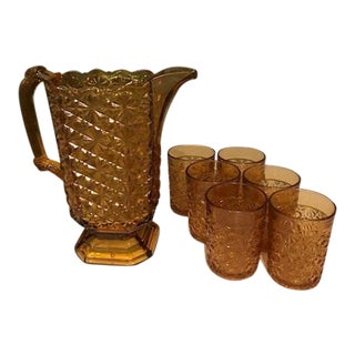 Drinking Set With Pitcher & 6 Glasses - Set of 7 For Sale