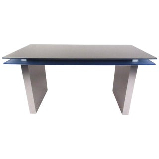 Modern Floating Top Aluminum and Lucite Desk For Sale