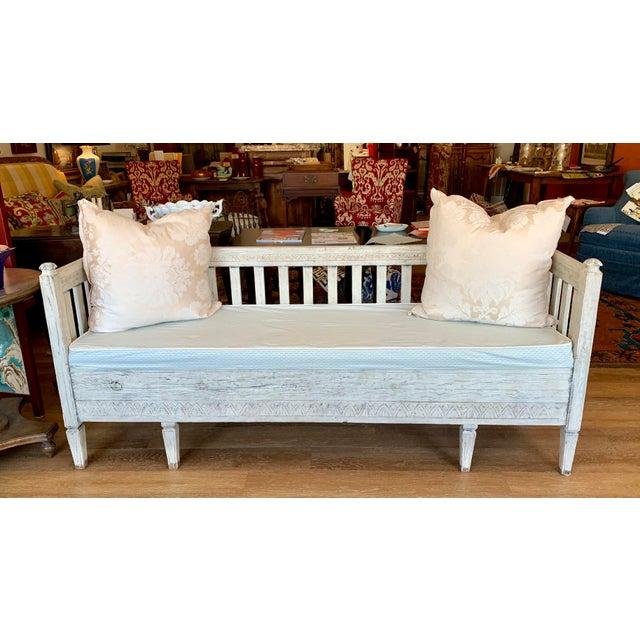 Scandinavian Tartan Cushion and Aqua Slipcover for Summer Bench For Sale - Image 11 of 11