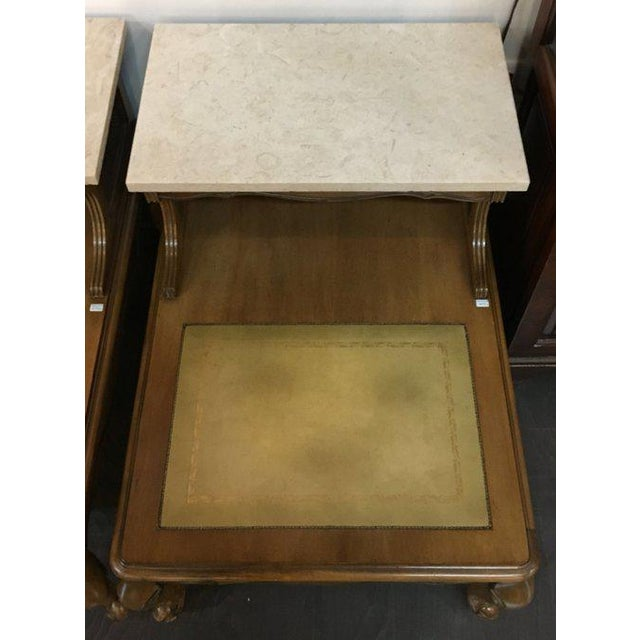 Antique French Style Marble Top Nightstands - A Pair - Image 8 of 10