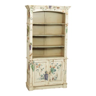 Architectural Tall Open Bookcase Hand Painted Grape Vine Botanical For Sale