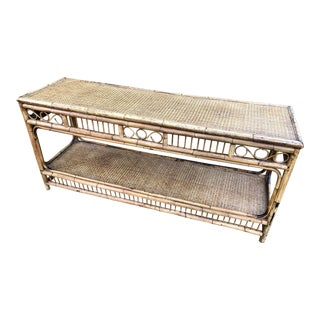 1930s Boho Chic Burnt Bamboo Console Table For Sale