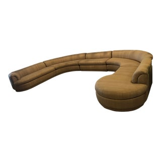 Vintage 1970's Mid Century Modern Curved Sectional Sofa - 5 Pieces For Sale