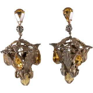 "Napier Earrings 2.5"" 1950s Vintage Amber Rhinestones Chandelier Lantern Dangles For Sale"