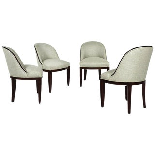 1910s Set of Four Chairs in the Style of Otto Prutscher, Mahogany, Linen-Austria For Sale