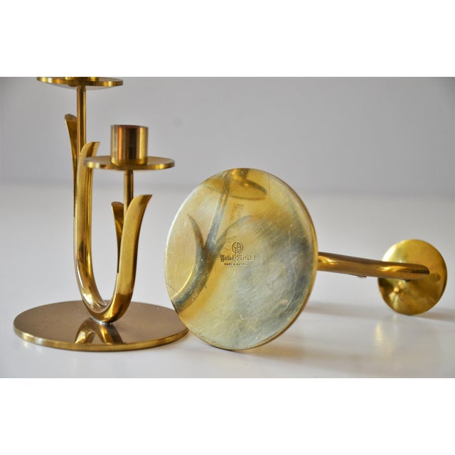 1960s Modern Brass Candle Holders by Gunnar Ander for Ystad Metall-a Pair For Sale - Image 5 of 10