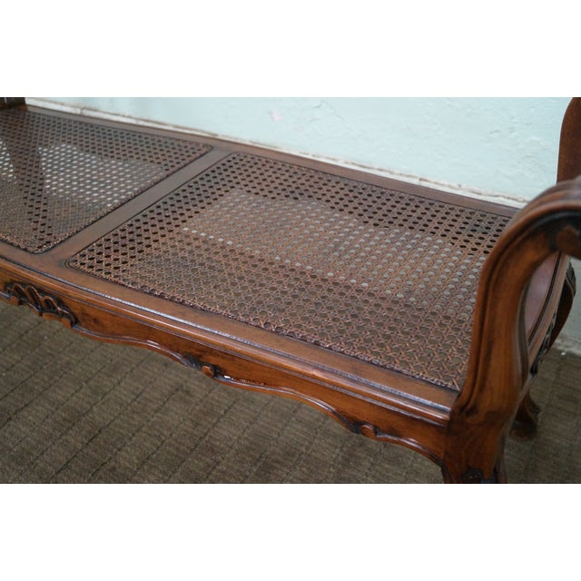 Italian Made French Louis XV Style Cane Seat Bench - Image 8 of 10