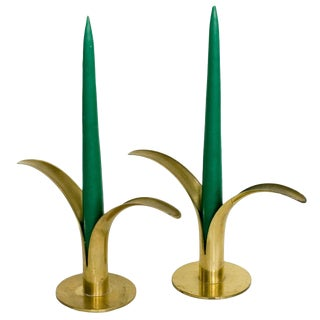 Ystad Mid-Century Brass Candles Holders - a Pair For Sale