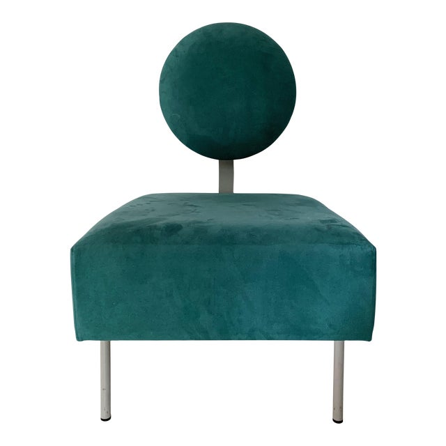 1980's Vintage Andreu World Contemporary Green Square Lounge Chair For Sale