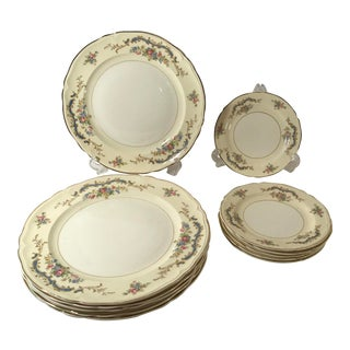 Vintage Edwin Knowels China Dinner Plates and Dessert Plates - Set of 12 For Sale
