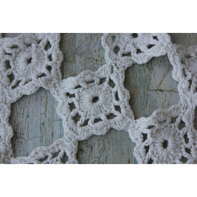 French Antique French Handmade Lace Table Cover / Crochet Textile For Sale - Image 3 of 6