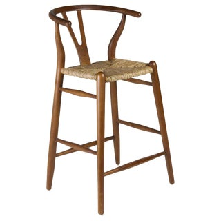 New Handmade Armchair Counter Stool in Mindi Wood and Rattan For Sale