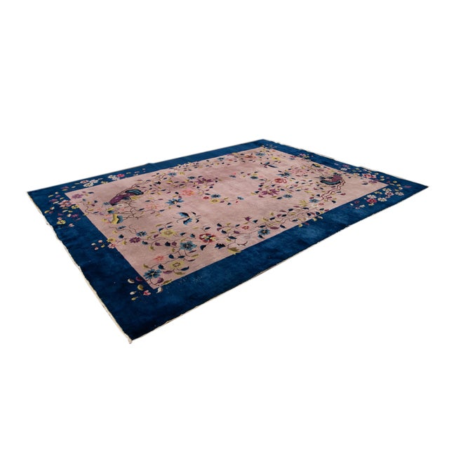 Textile Antique Rose Chinese Art Deco Wool Rug 8 Ft 9 in X 11 Ft 8 In. For Sale - Image 7 of 12