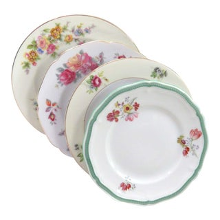 Vintage Mismatched Fine China Bread Plates - Set of 4
