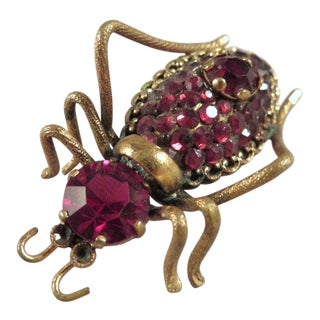 Vintage Czech Faux Red Garnet Insect Brooch For Sale