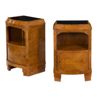 Pair of 1930's French Art Deco Bedside Tables Vintage Nightstands For Sale