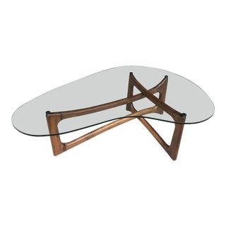 Restored Adrian Pearsall Walnut Coffee Table Craft Associates For Sale