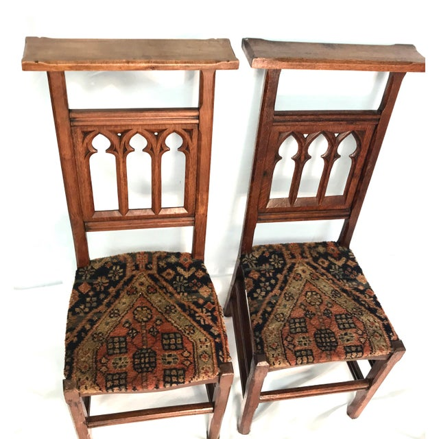 These 19th century antique gothic pew chairs came from a church. The top is  flat - Antique Gothic Pew Chairs - A Pair Chairish