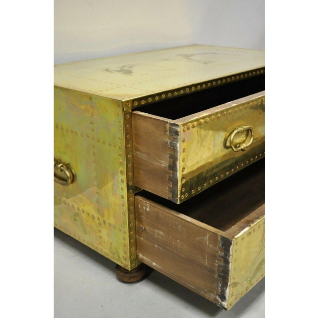 Mid 20th Century Vintage Sarreid Two Drawer Brass Studded Campaign Style Low Chest of Drawers For Sale - Image 5 of 13