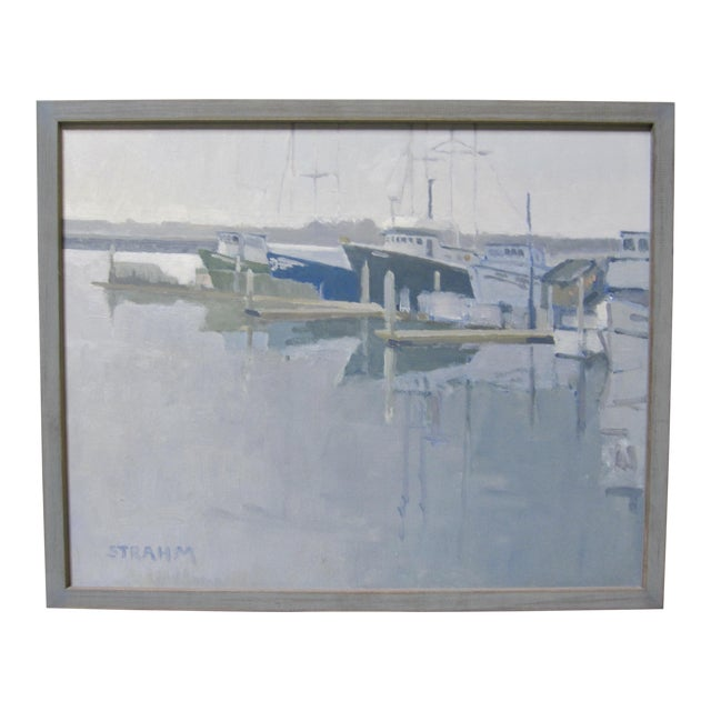 Paul Strahm Contemporary Boat Harbor Docks California Seascape Oil Painting For Sale