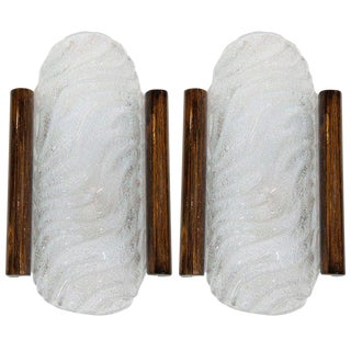 Pair of 1950s Murano Glass Sconces With Wood Detail by Barovier and Toso For Sale