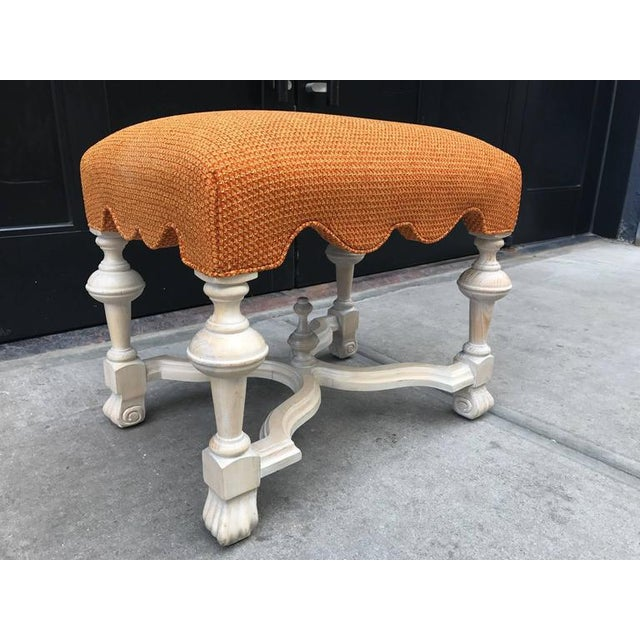 Hollywood Regency Pair of Hollywood Regency Cerused Benches For Sale - Image 3 of 5