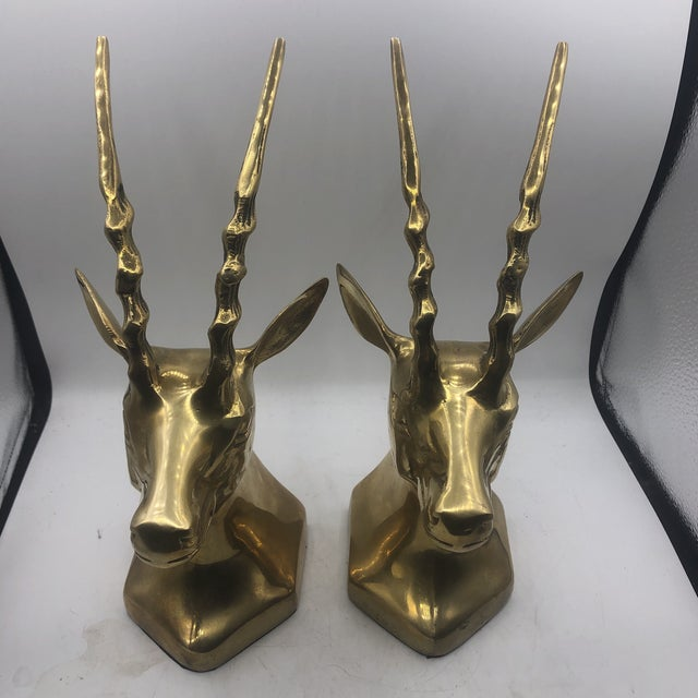 Brass Antelope Bookends - a Pair For Sale - Image 10 of 11