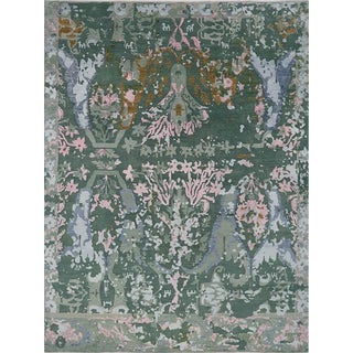Contemporary Handwoven Indo Ikat Rug - 9′1″ × 12′3″ For Sale