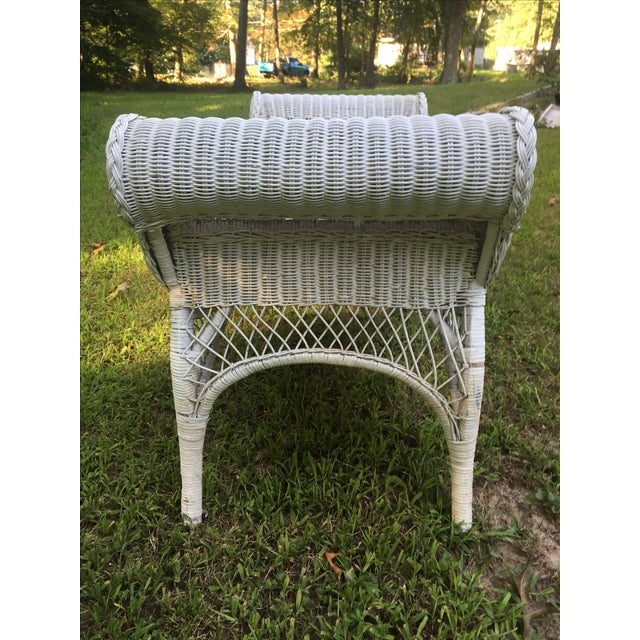 Vintage Scrolled Arm Wicker Bench - Image 4 of 6
