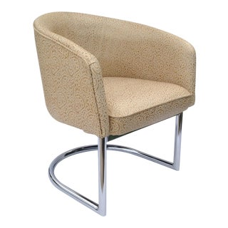 "Vintage C. 1960s ""Restored"" Milo Baughman Chrome Tub Club Chair For Sale"