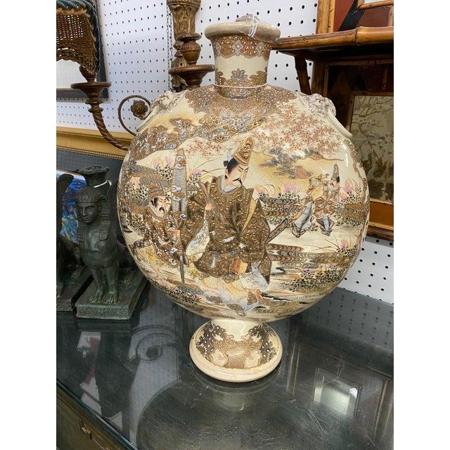 1900 - 1909 C. 1900 Ceramic Hand Painted Japanese Satsuma Moonflask Vase For Sale - Image 5 of 5