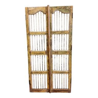 Antique Teak Wood & Iron Gates - Set of 2 For Sale