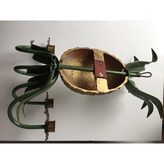 Italian Tole Painted Pineapple Candle Sconce For Sale - Image 4 of 7