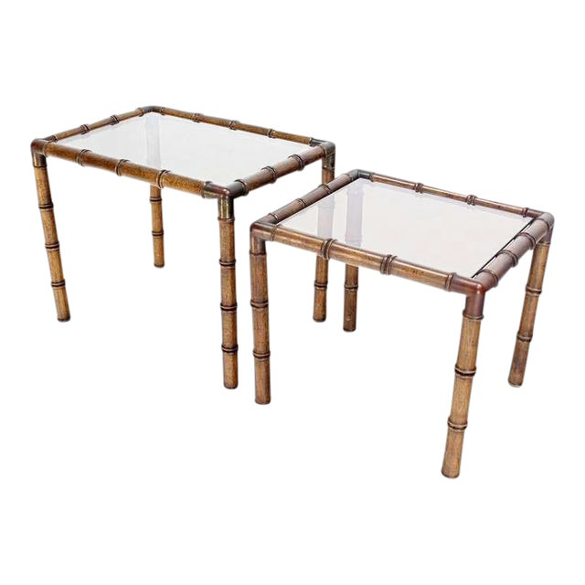 Mid Century Modern Faux Bamboo Nesting Stacking End Tables- a Pair For Sale