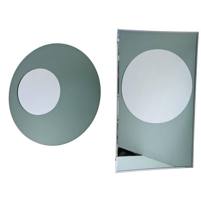 Rectangular and Round Modernist Mirrors with 3d Circles - A Pair For Sale