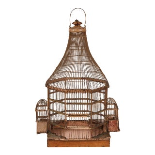 Late 19th Century Italian Wooden Birdcage For Sale